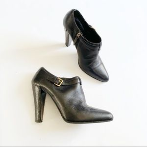 Miu Miu Low Ankle Booties Pointed Buckle Leather